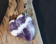 Chevron Amethyst Heart shaped Necklace - Item 1266