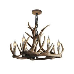 Add a twist of rustic charm to your contemporary or traditional room with this deer horn chandelier. This rustic chandelier features the natural antler finish and authentic-looking antler. This light is easy to coordinate with other pieces for a stylish decoration in your home. Suitable for hanging in your living room, bedroom and more