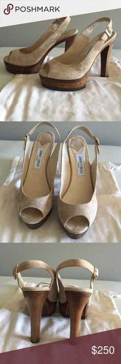 Jimmy Choo Verse shoe Never worn. Fab Jimmy Choo Verse heels in tan/beige suede. Sling back strap with buckle. Height 5in. Wedge sole is 1.25in. Original box and dust bag. Perfect condition Jimmy Choo Shoes Platforms