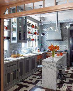 Steven Gambrel Manhattan Home - Manhattan Apartment Design - ELLE DECOR narrow kitchen island Grey Kitchen Cabinets, Kitchen Cabinet Design, Interior Design Kitchen, Kitchen Decor, Kitchen Ideas, Glass Cabinets, Kitchen Hardware, Kitchen Colors, Kitchen Layout