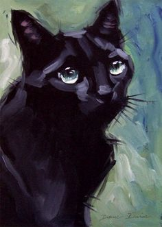 Black cat painting - original oil 8 x 8 inches by Diane Irvine Armitage. #OilPaintingBirds
