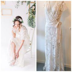 HALF OFF SALE! Ivory Lace Wrap Dress by thediamondseabridal on Etsy