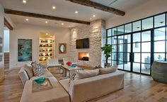 Modern Living Room Interior Designs with Amazing Fireplace