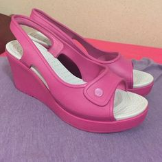 992e68474 Pink Crocs wedge size 10 Size 10. Like new. Never worn outside. Very