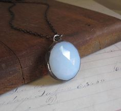 Moonstone Like White Opalescent Faceted Glass Necklace Simple