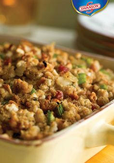 Do you prepare a variety of side dishes for your friends and family? If so, you might want to make a double batch of this Caramelized Onion with Pancetta & Rosemary Stuffing because it's sure to be the talk of your Thanksgiving dinner table. Pancetta adds the flavor to the recipe while a combination of Swanson chicken broth and sherry keep the stuffing moist.