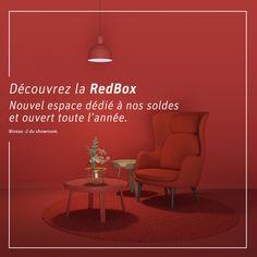Découvrez la RedBox au showroom de Puidoux !  Nous sommes ravis de pouvoir vous annoncer l'ouverture de la RedBox. Un nouvel espace entièrement dédié à nos soldes et ouvert toute l'année au niveau -2 de notre showroom de Puidoux. N'attendez plus et venez découvrir les bonnes affaires qui s'y trouvent. Showroom, Design, Home Decor, Openness, Decoration Home, Room Decor, Fashion Showroom, Interior Decorating