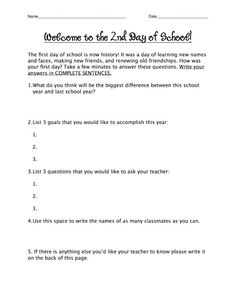 Second day questionnaire  ... from Tales of a Fifth Grade Teacher (blog)