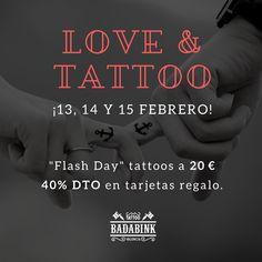 Promo San Valentín en Badabink Valencia Tattoo. Mini tattoos 20 € y 40% descuento en Tarjetas regalo. Consulta condiciones en nuestro blog o escríbenos un Whatsapp al 666852293. Valencia.