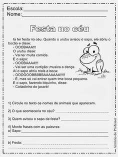 Armário do Professor: Sequência Didática - Festa no Céu Portuguese Language, Professor, Too Cool For School, School Kids, Homeschool, Teaching, Education, Words, Blog