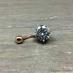 Rose Gold Plated 316L Surgical Steel CZ Belly Ring, Navel Ring, 14GA, Cubic Zirconia, Stone, Body Jewelry, (E007)