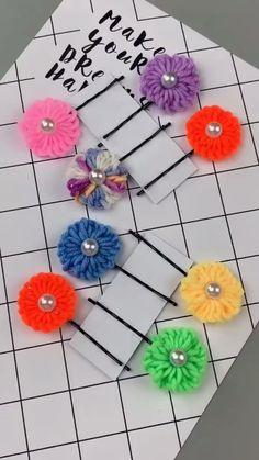 Diy Crafts Hacks, Diy Home Crafts, Yarn Crafts, Paper Crafts, Diy Flowers, Fabric Flowers, Paper Flowers, Diy For Kids, Crafts For Kids