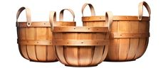 Handmade Picking Baskets - Hewn from New England Ash trees by a 150 year old basket company. Suede leather handles attached with rivets offer added strength. Available in three nesting sizes for easy storage. Made in New Hampshire. Bushel Baskets, Harvest Basket, Old Baskets, Storage Sets, Storage Basket, Easy Storage, Food Storage, Gardening Supplies, Made In America
