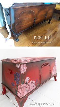 Before and After Painted Cedar Chest Painting Laminate Furniture, Chalk Paint Furniture, Hand Painted Furniture, Cool Furniture, Floral Furniture, Refinished Furniture, Diy Furniture Projects, Furniture Makeover, Diy Projects