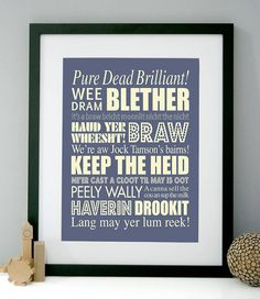 Personalised Scottish Sayings Art Print by modo creative, the perfect gift for Explore more unique gifts in our curated marketplace. Scottish Words, Scottish Quotes, Scottish Decor, Scottish Gaelic, Glasgow, Edinburgh, Burns Supper, Quirky Art, My Heritage