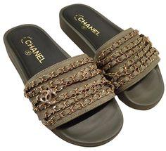 2a73555658d56 Chanel 17c Khaki Gold Chain Iconic Class Cc Mule Slide Flat 36 Green  Sandals. Get