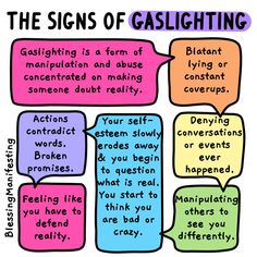 Gaslighting is a form of abuse and manipulation where one person tries to alter someone else's reality. Cut off all contact. Then therapy can help you regain your self-confidence, self-trust, to make you feel worth defending, even by yourself. Mental And Emotional Health, Emotional Abuse, Mental Health Awareness, Emotional Intelligence, What Is Gaslighting, Gaslighting Signs, Trauma, Ptsd, Affirmations