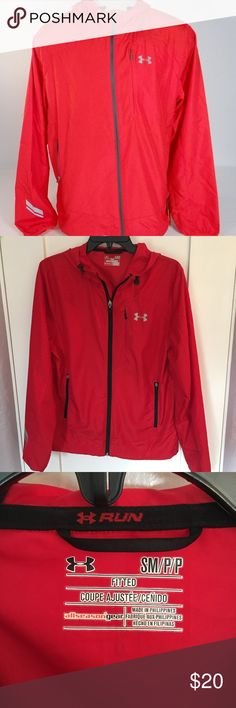 Men's Under Armour Run All Season Gear Great condition.  Worn twice.   Fitted size. 100% Polyester. Two Zip Hand Pockets.  Adjustable Hood.  Bungee Style Cord Adjustment. Under Armour Jackets & Coats Windbreakers