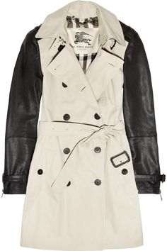 The Trench --> Burberry London | Mid-length leather-sleeved cotton-gabardine trench coat