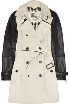 Burberry London|Mid-length leather-sleeved cotton-gabardine trench coat|UK 6 GBP 991.67