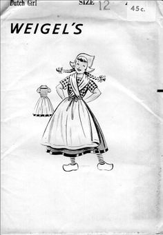 RARE Weigels Dutch Girl Children's Vintage Costume Paper Sewing Pattern Fashion 1950's