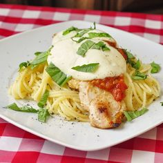 Grilled Chicken Spaghetti Margherita - heres a quick, easy dinner idea that combines chicken from the grill with pasta and a fast cooking simple tomato sauce along with fresh mozzarella and chopped fresh basil. These simple classic Italian flavors are delicious with smokey, juicy chicken fresh off the grill for a very satisfying workday meal.