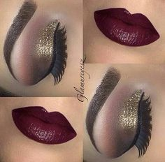 Another gold smokey eye, this time paired with a deep cherry or burgundy lip...x