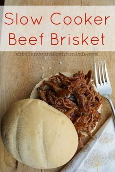 Slow cooker beef brisket recipe. A simple and delicious family friendly meal. Perfect for a busy weeknight. Throw everything in the slow cooker (crock pot) and come home to a crowd pleasing meal. We ate ours on a fresh bun, but you could add it to pasta d