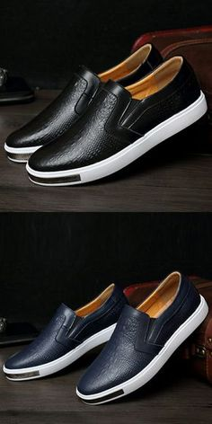 Prelesty Crocodile Slip On Leather Casual Shoes For Men Dress Loafer Round Toe Comfortable - Work hard - Dress Loafers, Loafers Men, Casual Slip On Shoes, Casual Boots, Dress Casual, Style Masculin, Gentleman Shoes, Simple Shoes, Mens Fashion Shoes