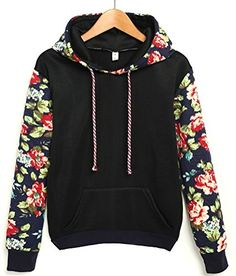 Followme2shop - #Cute Hoodies Sweater Pullover Warm Fleece Lined Flowers Sleeve **As different computers display colors differently, the color of the actual item...