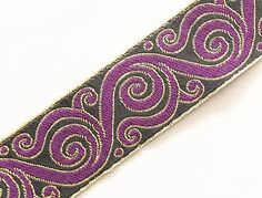 Jacquard Trim. Purple, Black & Gold. Celtic Scrolls. 3 Yards