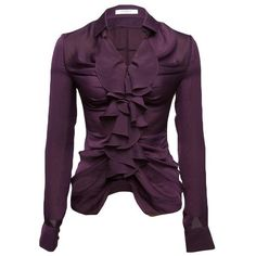Givenchy Ruched Blouse ($612) ❤ liked on Polyvore featuring tops, blouses, shirts, purple, jackets, women, ruched shirts, ruffle shirt, purple blouse and long sleeve tops