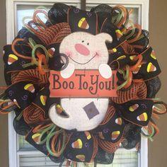 Boo To You Mesh Halloween Door Wreath by SouthernWreathDesign