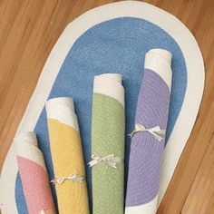 Complete your nursery decor with these simple, yet adorable chenille rugs.