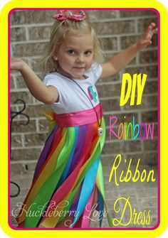 Huckleberry Love: DIY Rainbow Ribbon Dress {Tutorial}  Kate could make this!