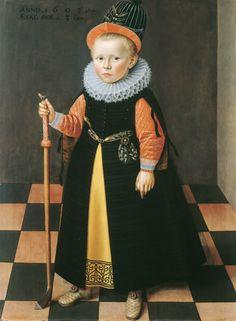 1595 Adriaen van der Linde 1603 Attributed to Adriaen van der Linde (Dutch artist, Three-Year-Old Boy with Colf Stick . Dutch Golden Age, Dutch Artists, Renaissance Art, Renaissance Portraits, Play Golf, Young Boys, Historical Clothing, Fashion History, Vintage Children
