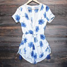 lovecat - sweet floral white + blue chiffon romper - shophearts