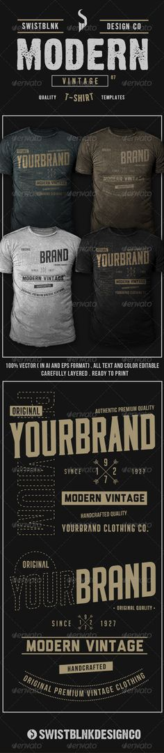 Modern Vintage T-Shirt Template Vector EPS, AI. Download here: http://graphicriver.net/item/modern-vintage-tshirt-07/8064707?ref=ksioks