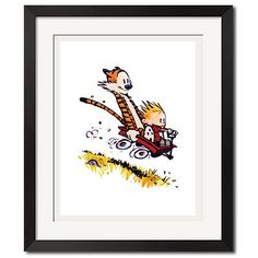 Calvin and Hobbes Downhill Sport Poster Print by Wallartxshop, $49.99