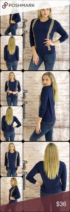 "NWT Navy & Crochet Trim Casual Cozy Top NWT Navy & Crochet Trim Casual Cozy Top  Available in S, M, L Measurements taken from a small  Length: 23"" Bust: 40"" Waist: 38""  Rayon/Poly/Spandex Made in the USA  * Also available in Mauve in a separate listing *  * Model is wearing a size small *  Features  • cream crochet trim accents • long sleeves  • insanely soft material w/stretch • pull over design • rounded neckline  Bundle discounts available  No pp or trades  Item # 1/101230360MCT crochet…"