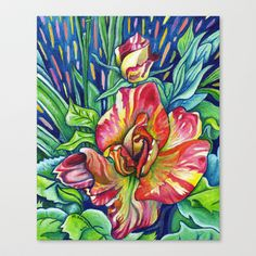 Joseph's Coat - Expressive Flower Art in Acrylic Stretched Canvas by Morgan Ralston - $85.00