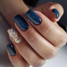 new years nails dip powder & new years nails . new years nails acrylic . new years nails gel . new years nails glitter . new years nails dip powder . new years nails design . new years nails short . new years nails coffin Navy Blue Nails, Gold Nails, Fun Nails, Blue Gold, Blue Nails With Glitter, Navy Blue Nail Polish, Purple Nails, Blue Gel Nails, Gradient Nails