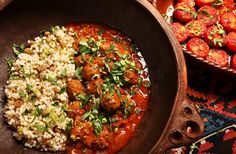 North African Meatballs (Boulettes), Roasted Tomatoes, and Couscous Meatball Recipes, Beef Recipes, Cooking Recipes, Cooking Beef, Cooking Courses, Lunch Recipes, Couscous, Asia Food, Moroccan Restaurant