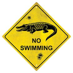 #Crocodile no #swimming souvenir #australian road sign, View more on the LINK: http://www.zeppy.io/product/gb/2/321537329786/