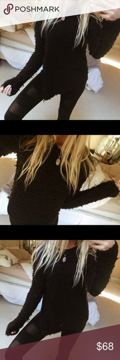 free people black coze knit black free people cozy, chunky knit sweater. size medium ☕️🌿 in excellent condition Free People Sweaters