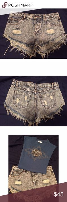 Light Denim Distressed Shorts - brand new These shorts are perfect for everyday wear! not listed brand. Can layer with a tee and necklaces. Stylish & never been worn 🙂 One Teaspoon Shorts Jean Shorts