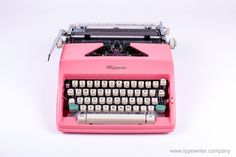 sale pink ABOUT: Olympia manual typewriter. SM stands for Schreibmaschine Mittelgross (medium-size typewriter), were produced by the West German company. Working Typewriter, Portable Typewriter, Retro Typewriter, Mini Things, Cool Things To Buy, Stuff To Buy, Vintage Typewriters, Vintage Suitcases, Vintage Luggage