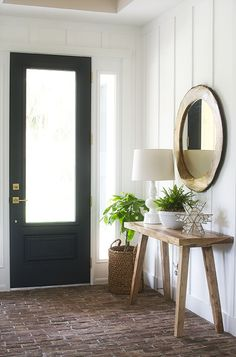 Modern Farmhouse Foyer. Board And Batten Walls, Brick Floor, Tongue And  Groove Ceiling