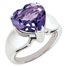Heart Shaped Amethyst Sterling Silver Ring Available Exclusively at Gemologica.com