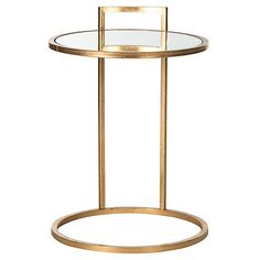 Calvin Round Side Table, Gold/Clear Now: $145.00 							Was: $195.00